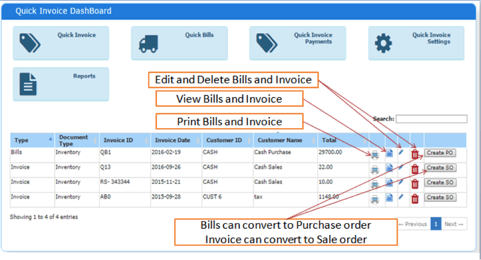 Quick Invoice Dashboard And Settings File AcTouch Technologies Pte - Quick invoice